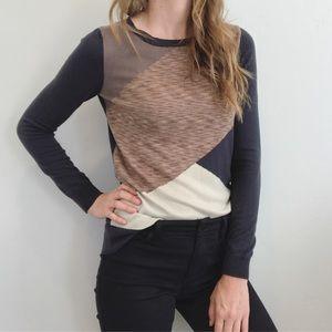 Gray, Cream and Peach Geometric Sweater